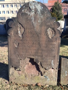Thomas Darling's gravestone in Grove Street Cemetery in New Haven CT. Moved from the Green in New Haven.
